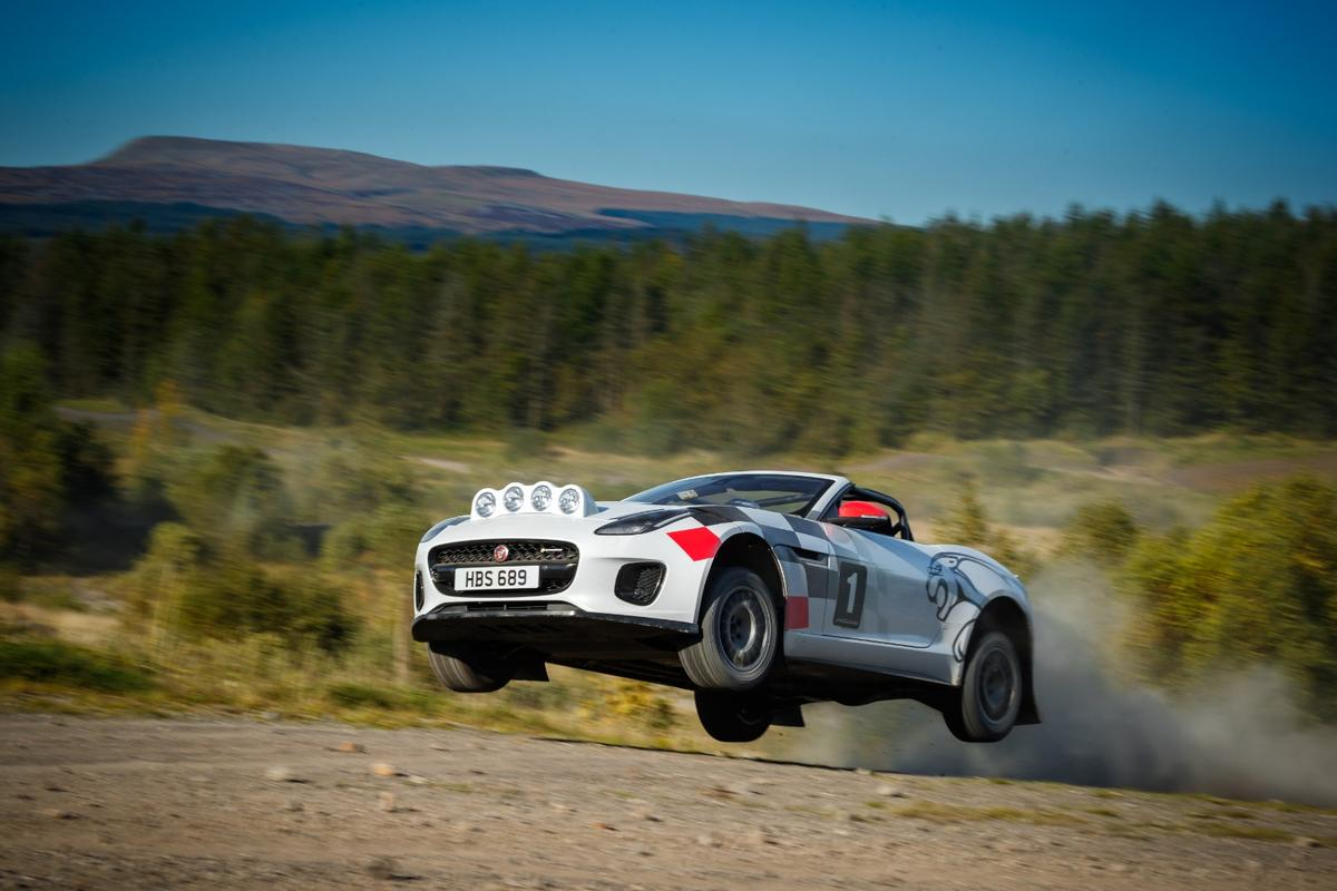 The Jaguar F-Type Convertible rally car gets airborne