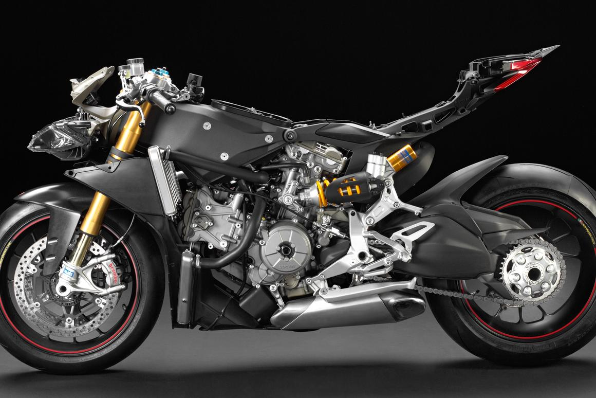 Ducati's Pangiale 1199 - an engineering masterpiece, but not the world's best looking bike with its fairings removed