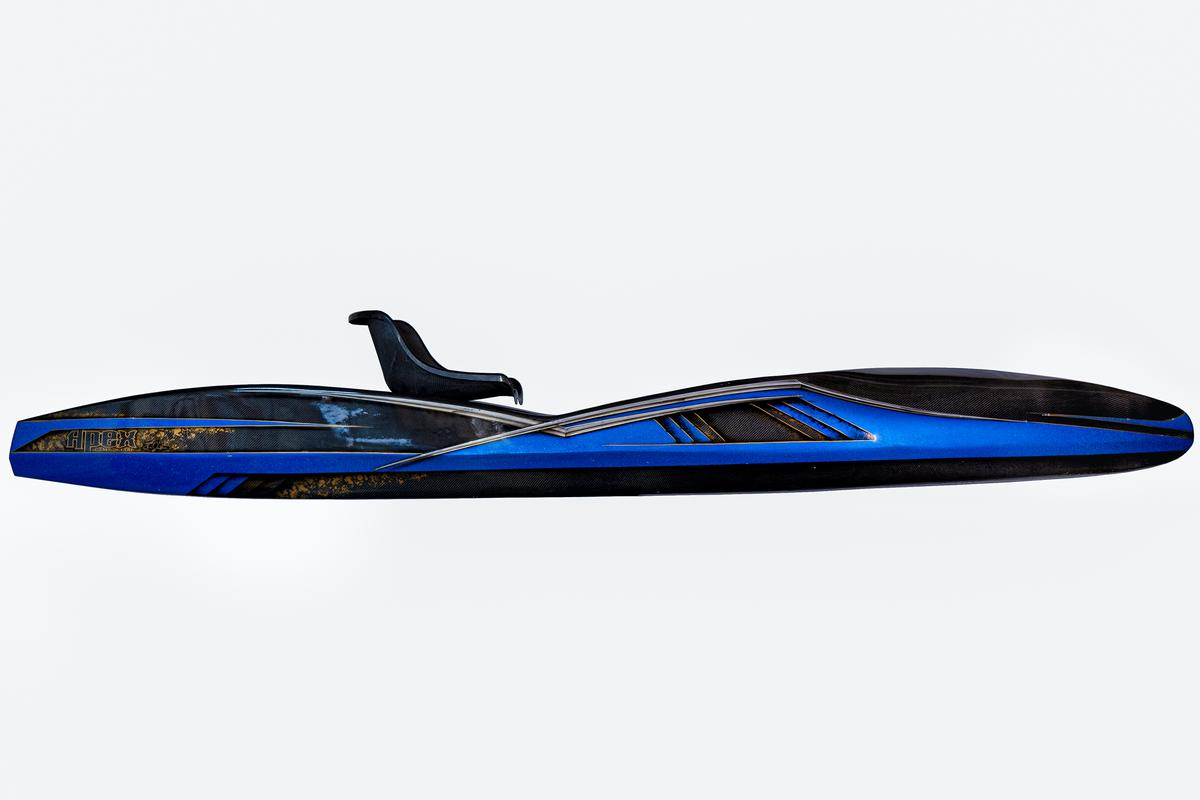 "The Tyr kayak measures 12'10"" (3.9 m) in length"