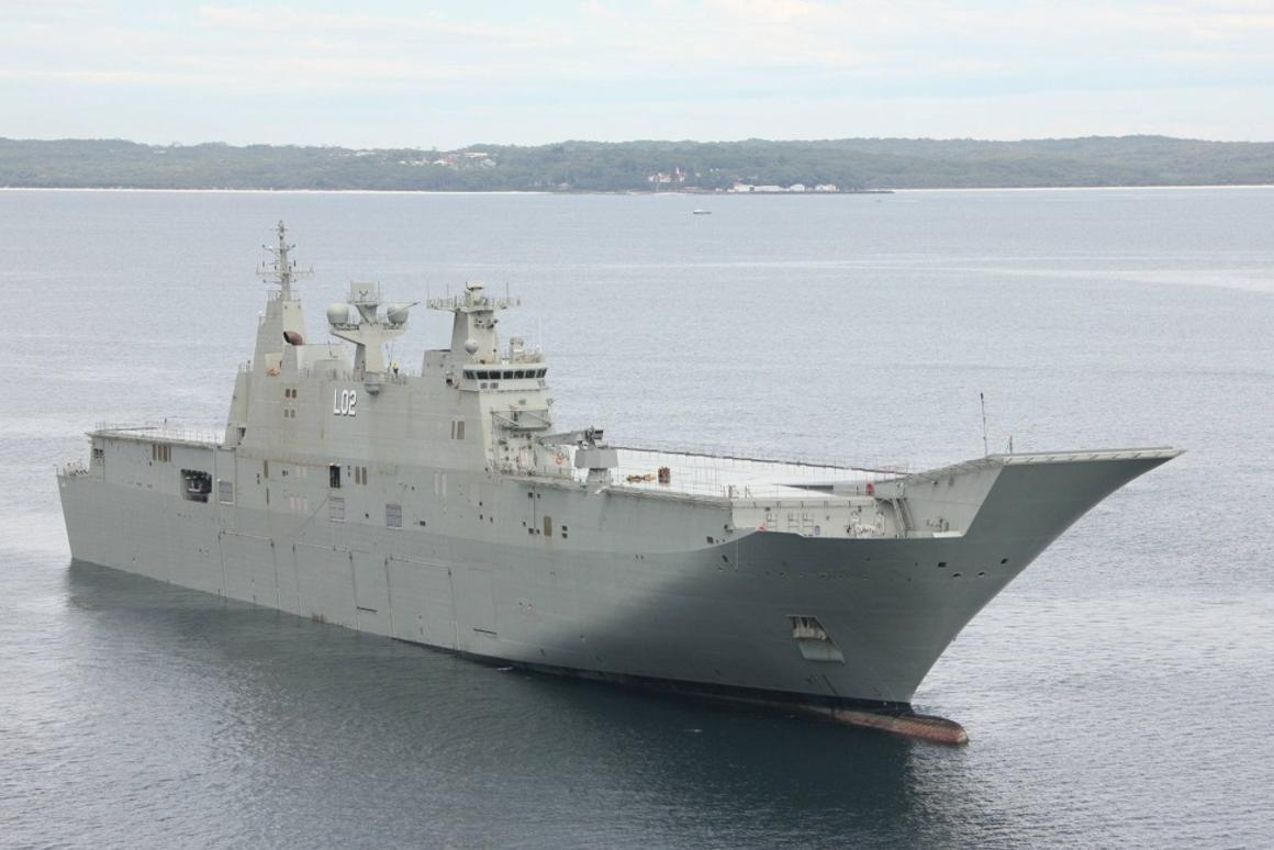 Nuship Canberra transiting the waters of Jervis Bay, New South Wales (Photo: RAN)