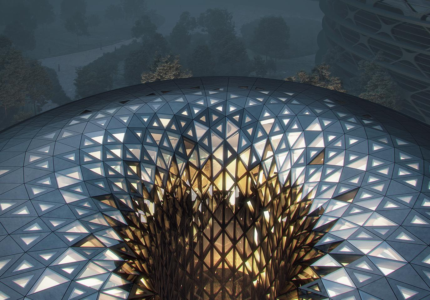 The Unicorn Island masterplan's exhibition and conference center is topped by an impressive glass roof