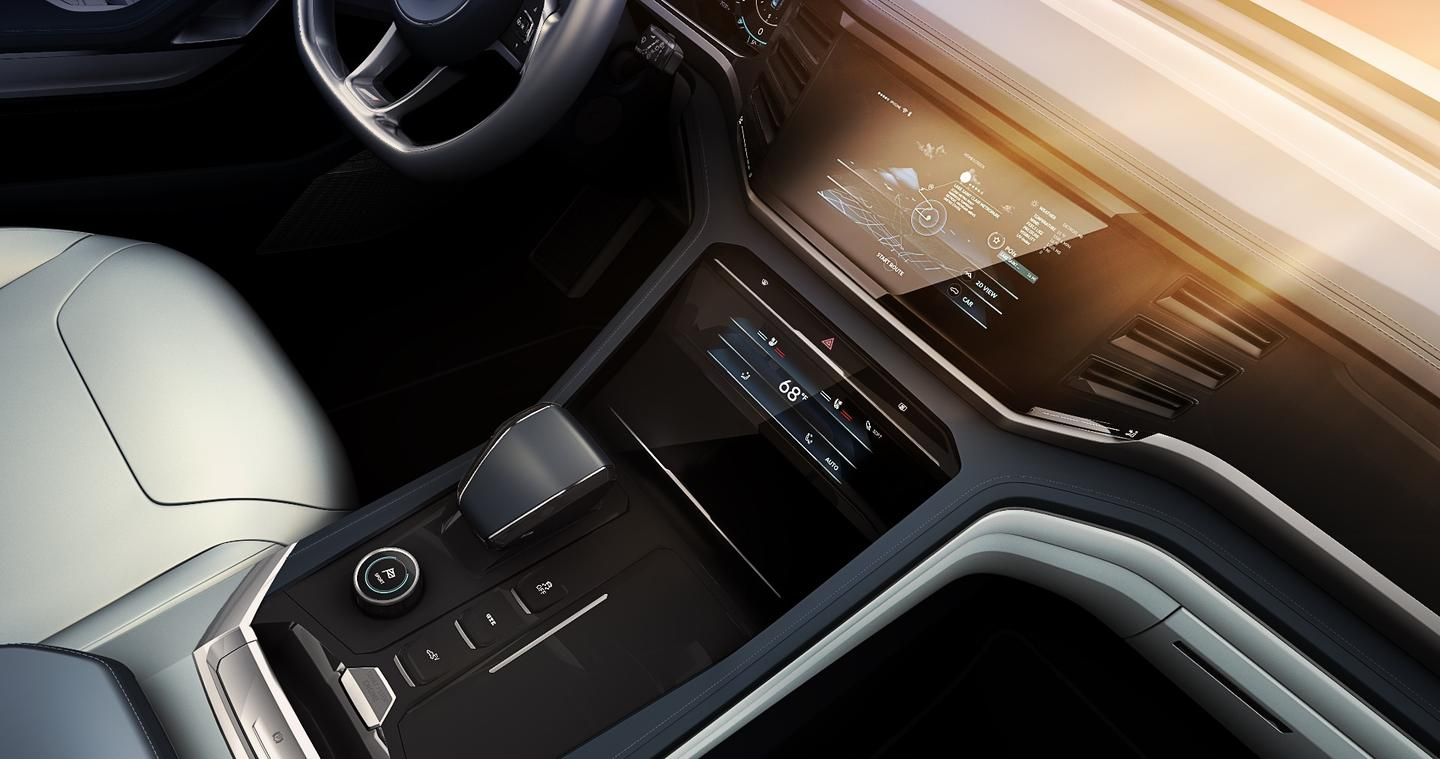 Center console of VW's Atlas Cross Sport concept SUV
