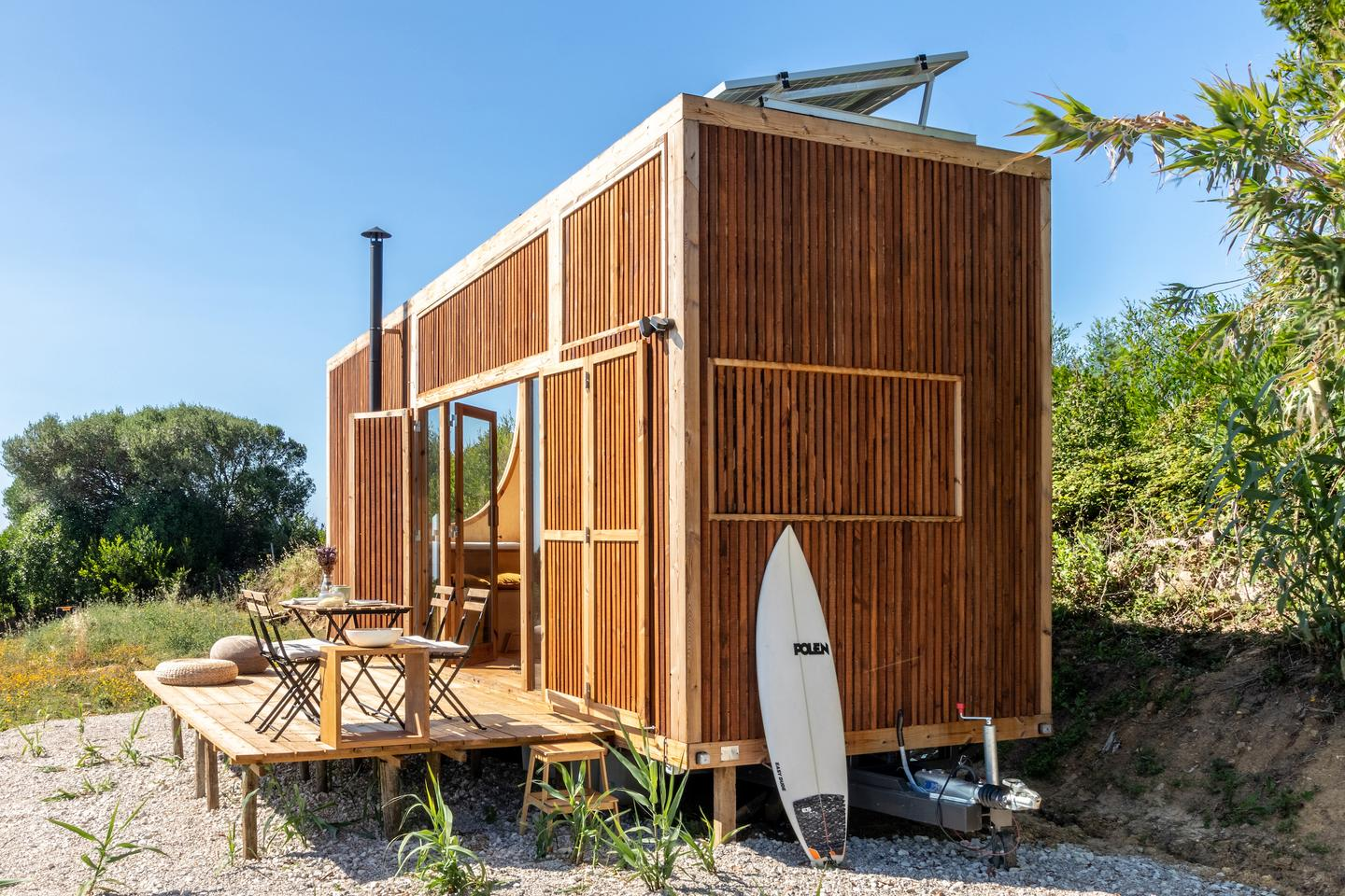 The Ursa features a small deck area outside to increase living space