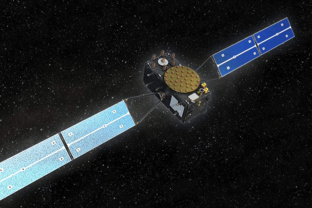 Artists impression of one of the twin Galileo satellites set for launch next month (Image: OHB)