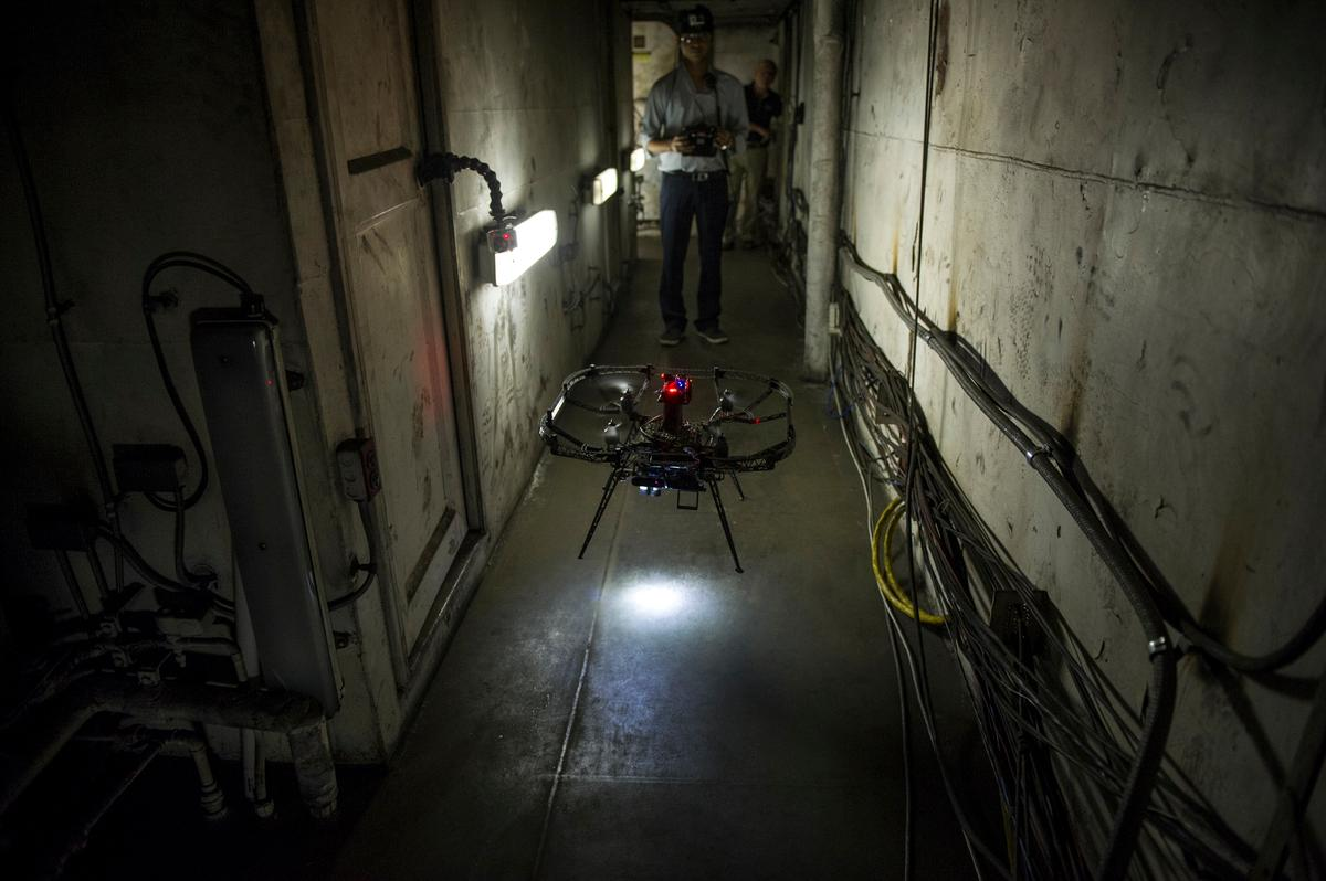 The micro-flyer scouts the hallways of the USS Shadwell (Photo: CMU)