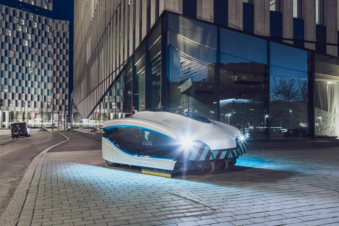 The Trombia Free autonomous electric street sweeper cleaning up on the night shift in Helsinki