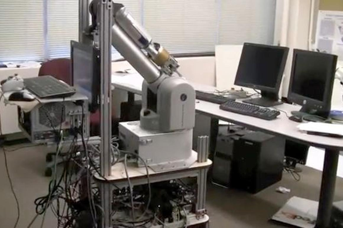 A Cornell robot successfully identifies a keyboard within a cluttered room