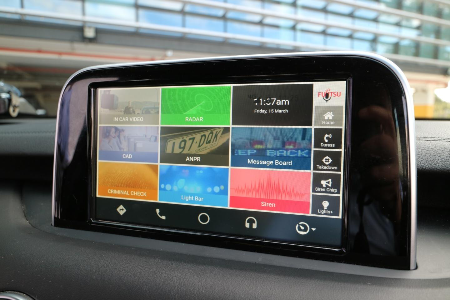 The setup utilizes the car's existing infotainment screen to present the sort of data that would ordinarily be presented on a separate laptop