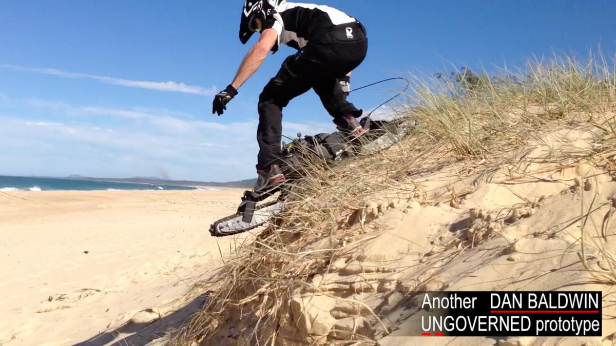 The Ungoverned powerboard tackles the sand dunes