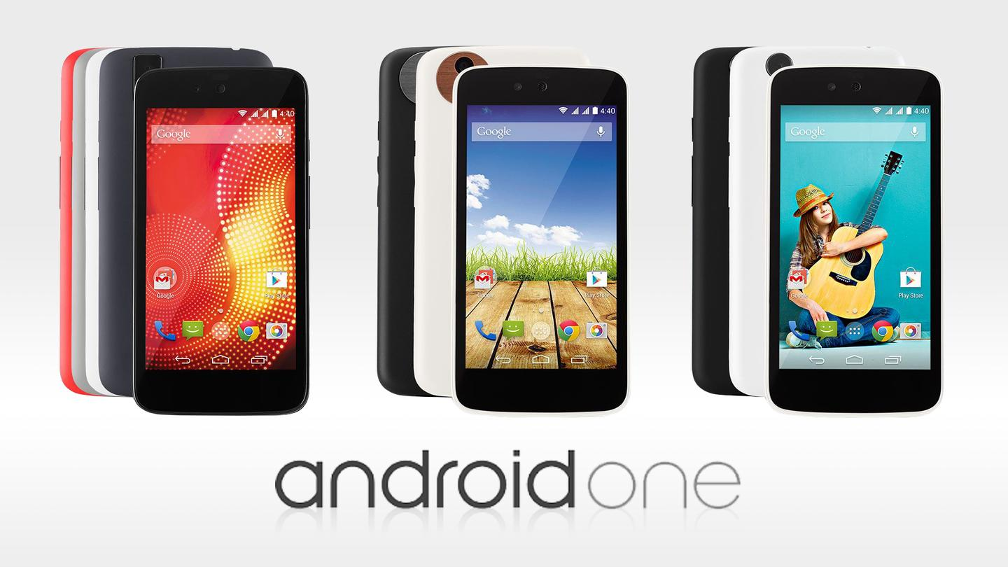 The first three Android One smartphones for India – the Karbonn Sparkle V (left), Mircomax Canvas A1 (center) and Spice Dream UNO (right)