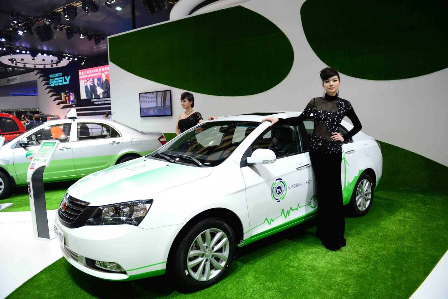 A display model of the Geely/Detroit Electric EC7-EV, spied by Gizmag at the Shanghai Auto Show