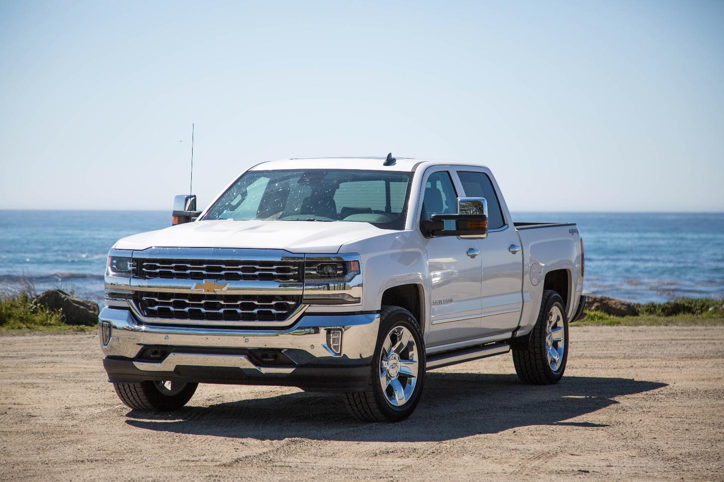 The Chevrolet Silverado 1500 LTZ, complete with bug-spattered windscreen, on California's Route 1