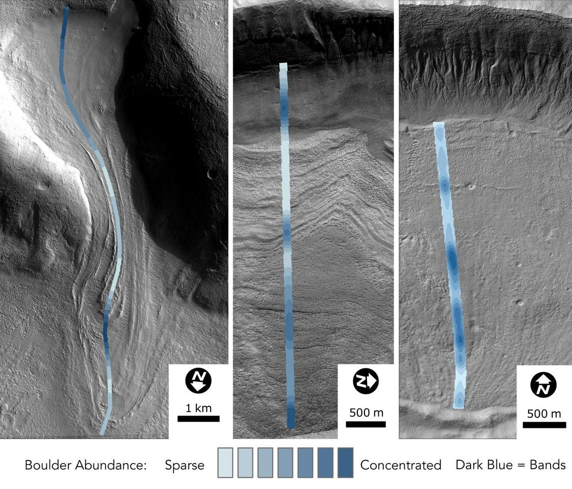 NASA imagery overlaid with data showing the distribution of boulders with Martian glaciers