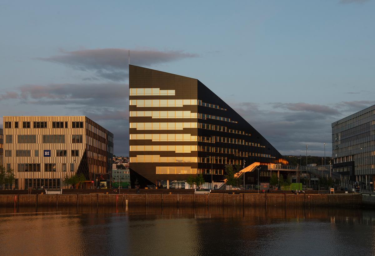 Powerhouse Brattørkaia reaches a maximum height of 39.3 m (129 ft)