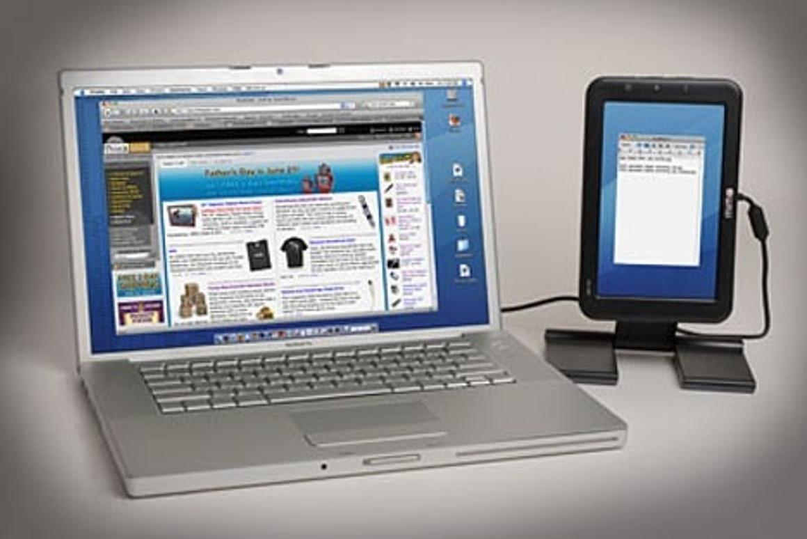 The portable Mimo Mini USB Monitor offers additional portable screen space(Picture: ThinkGeek)