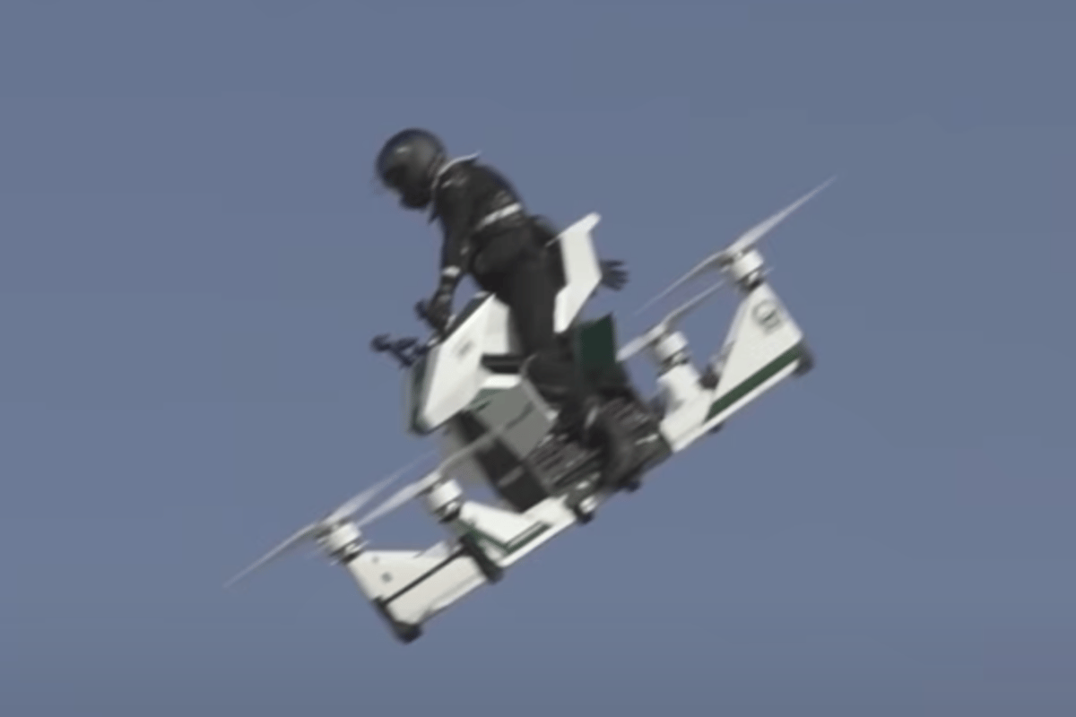 Pucker moment: the hoverbike rider realizes the aircraft is out of control about 100 feet off the ground