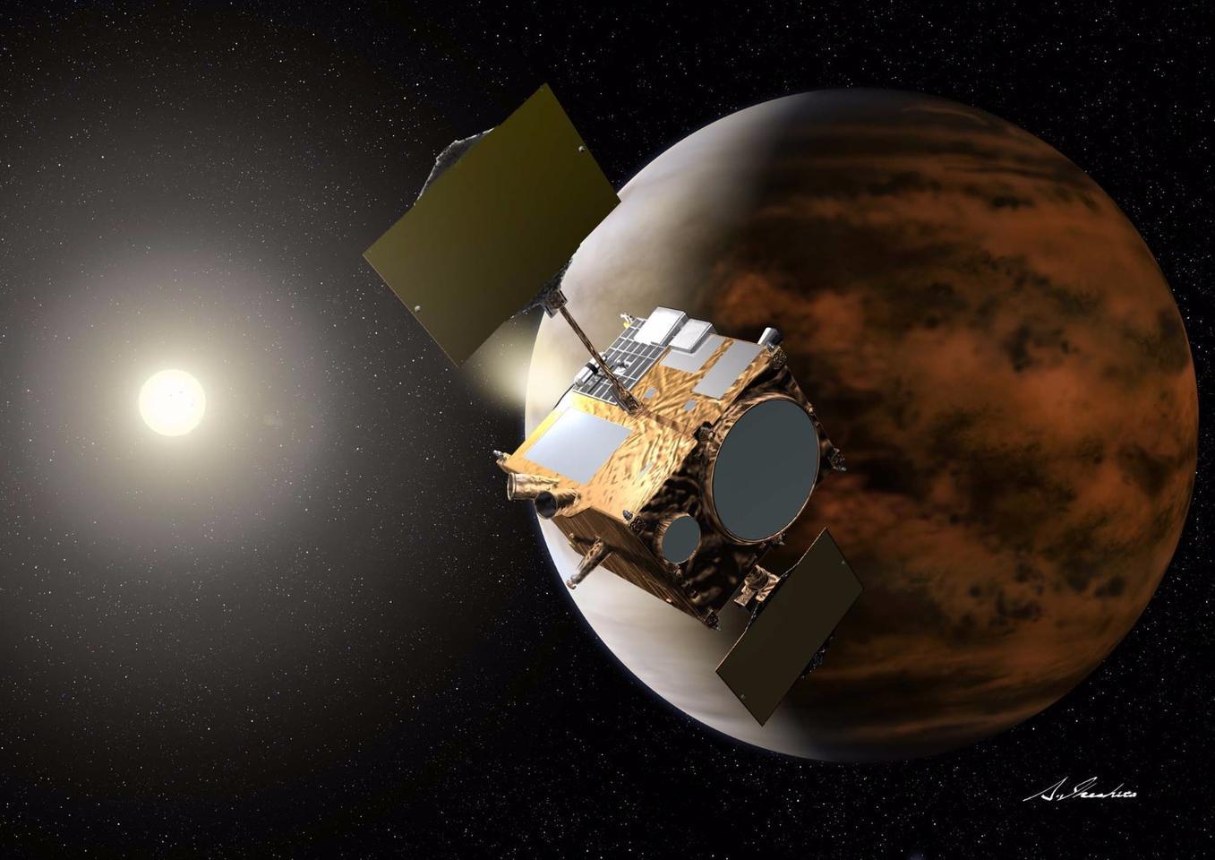 Artist's concept of Akatsuki in orbit around Venus