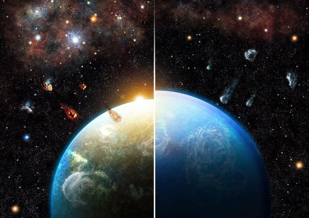 Artist's rendering of researchers' simulations showing how planetary systems born in dense and massive star formation regions (left) inherit substantial amounts of radioactive materials, making them much drier than those formed in different environments (right)