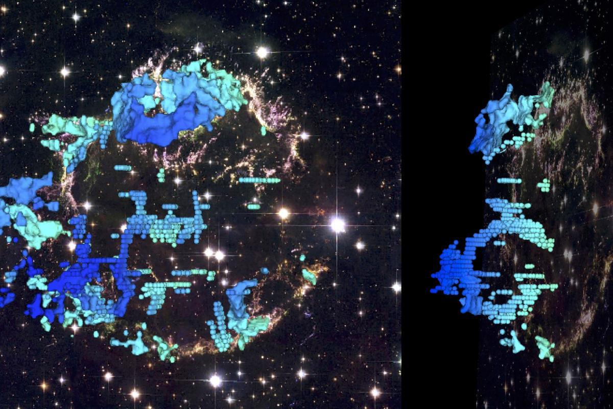 The CfA team created a 3D map of the Cassiopeia A supernova explosion (Image: D. Milisavljevic/R. Fesen/NASA/ESA)
