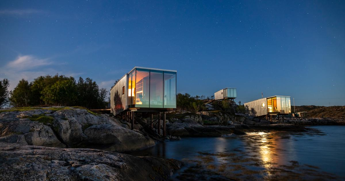 Aluminum cabins add a shimmer to Arctic island retreat