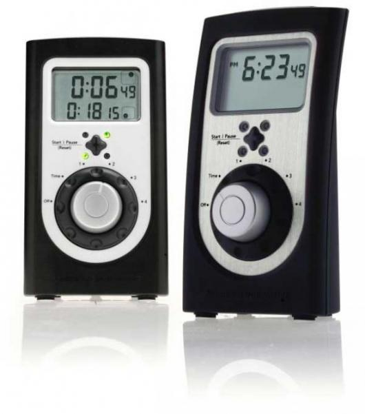 The US$20 Chef's Quad-Timer is made of rugged black plastic with white trim. The Quad-Timer Professional costs US$30 and features a brushed-stainless face and soft-touch rubberized housing, which nicely compliment today's modern kitchens and appliances.