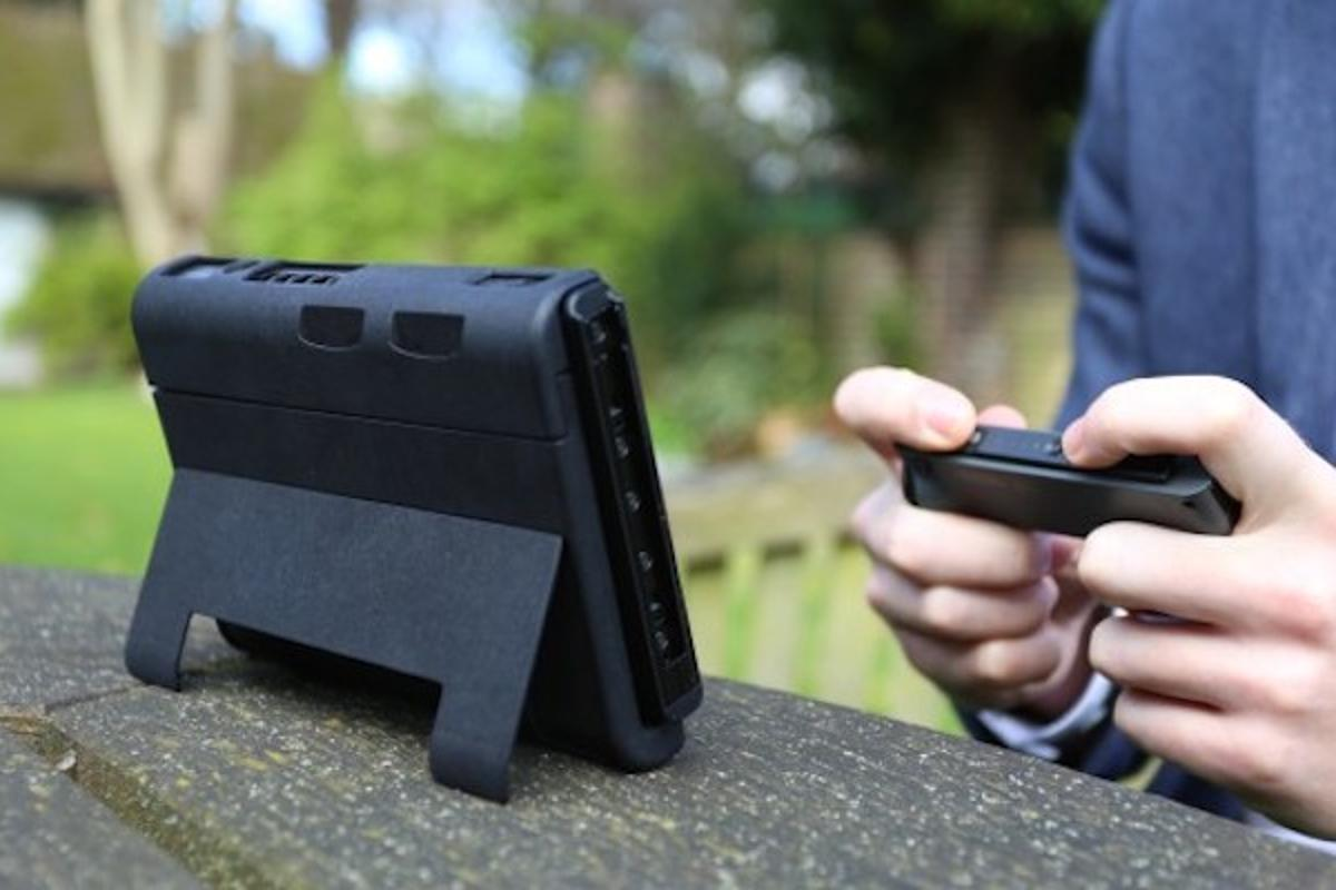 The SwitchCharge is an accessory for the Nintendo Switch that adds an extra battery pack for 12 hours more play, as well as a better kickstand