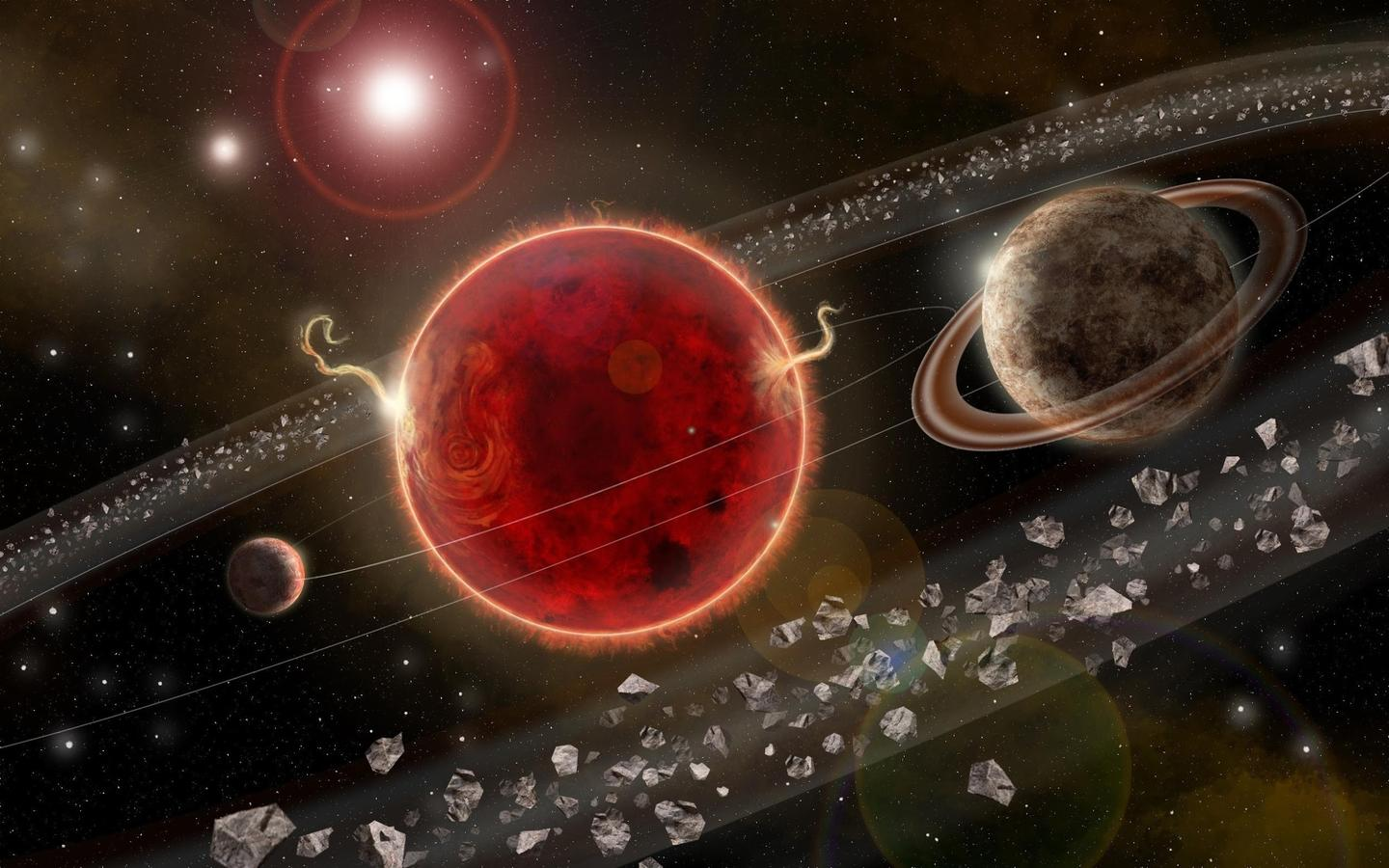 An artist's rendering of the Proxima Centauri system, featuring the star at the center, the smaller planet Proxima b at the left and the second potential planet Proxima c at the right