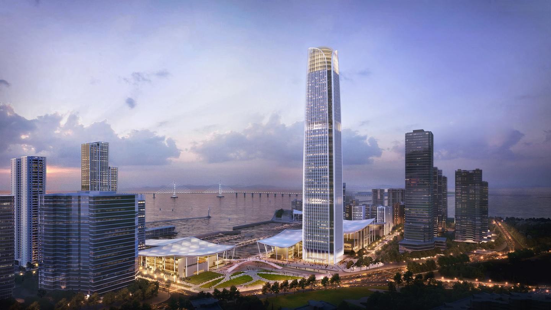 Jiuzhou Bay will feature a 1,045-ft (318-m) supertall skyscraper