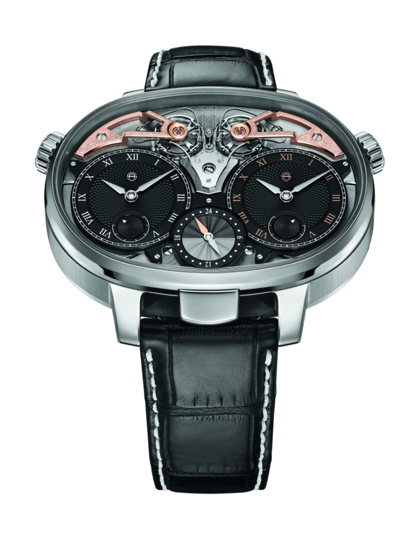 The distinctive oval shape of the Masterpiece 1 Dual Time Resonance makes room for two movements
