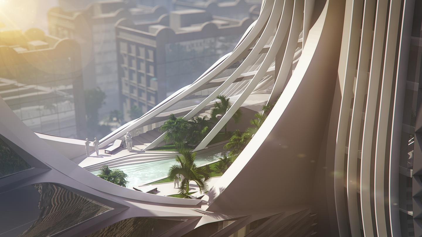 The lower sections of Grove Towers will be home to over 2,500 sq m (27,000 sq ft) of vertical gardens (Image: 3XN)