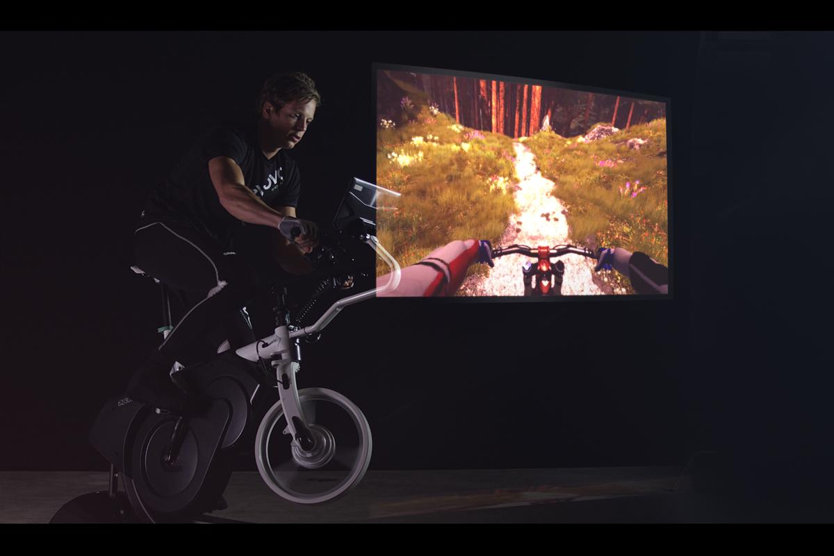 The ebove trainer both affects and reacts to an animated trail display, which the user views on an attached tablet or even a VR headset