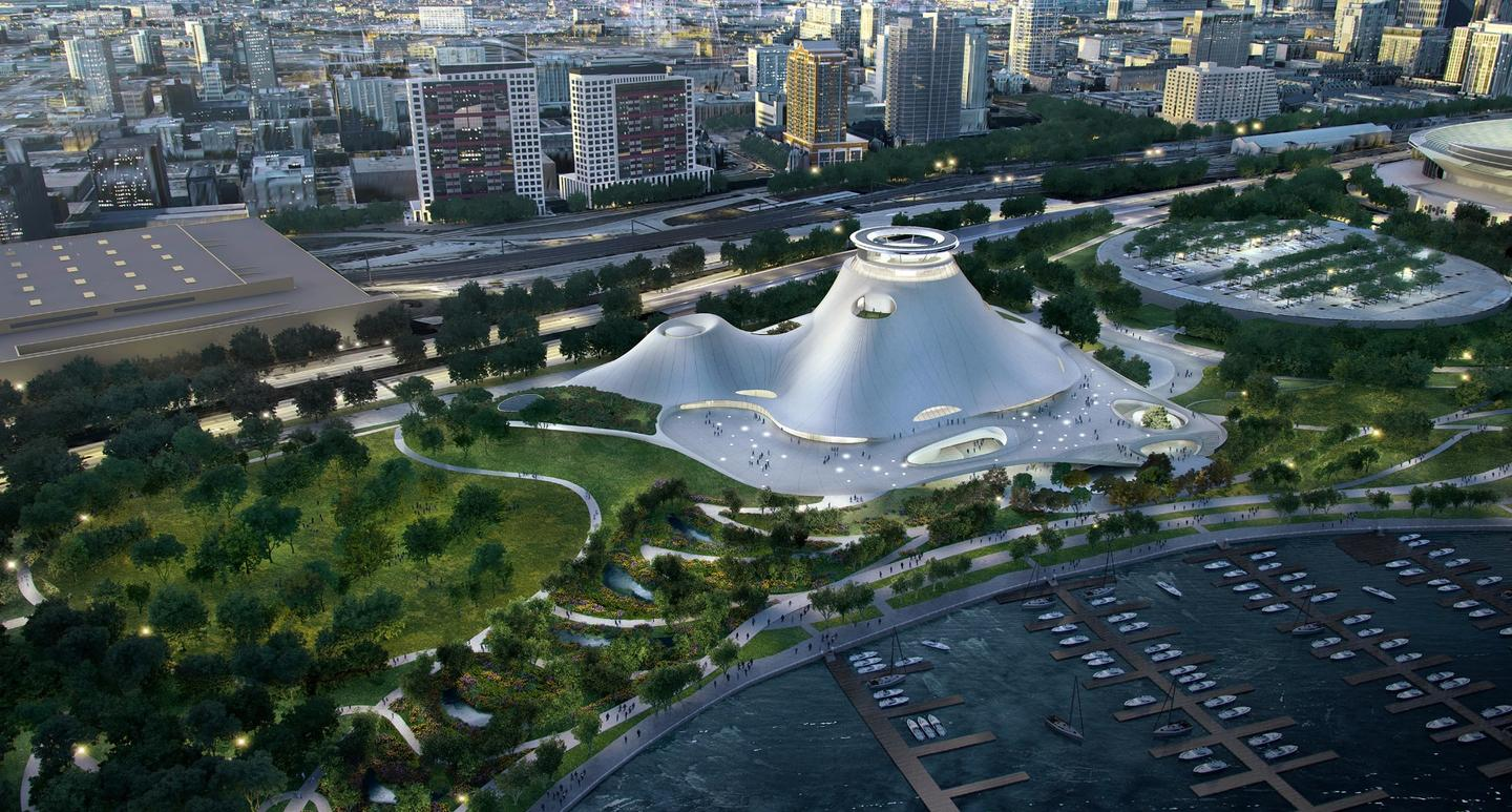 A bird's eye view of the Lucas Museum of Narrative Art and surrounding park setting.