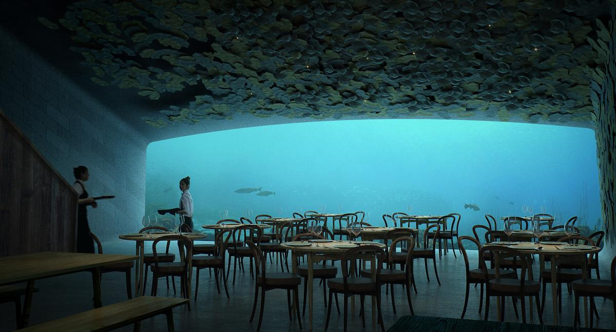 Under's dining area offers views of the sea bed
