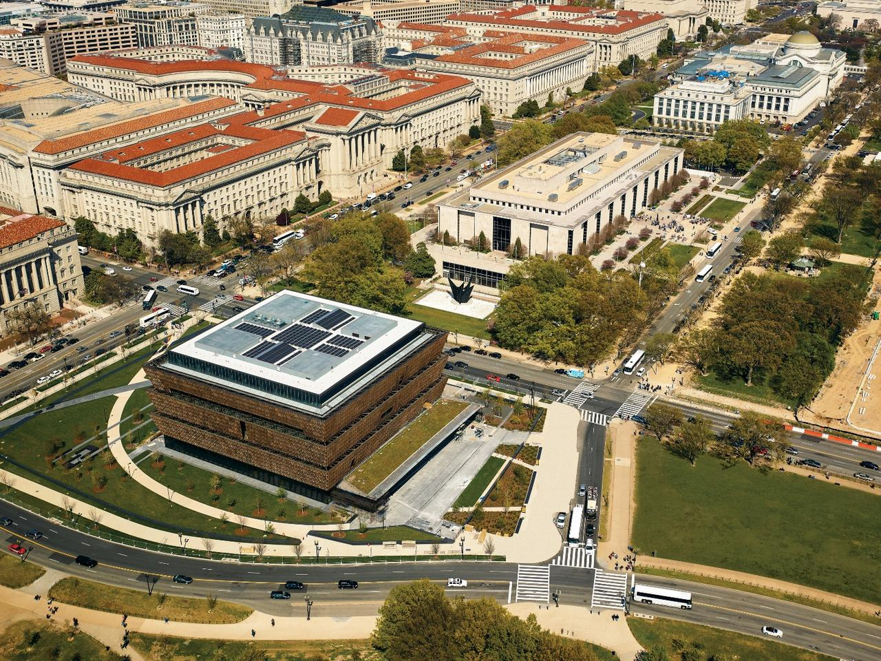 The National Museum of African American History and Culture was designed by Adjaye Associates alongside The Freelon Group, Davis Brody Bond, and SmithGroupJJR