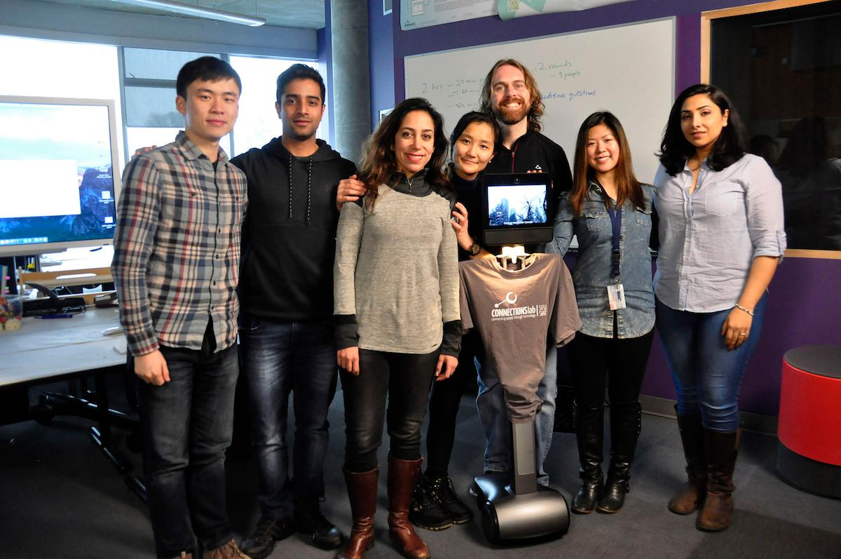 The Simon Fraser University team, and the telepresence robot they've been working with