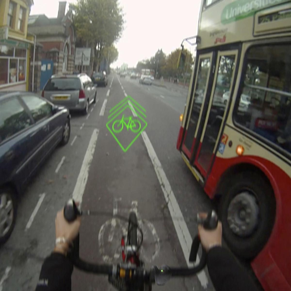 BLAZE is a protype device that alerts drivers to the presence of a cyclist, by a projecting a laser image onto the road in front of the bicycle(Photo: University of Brighton)