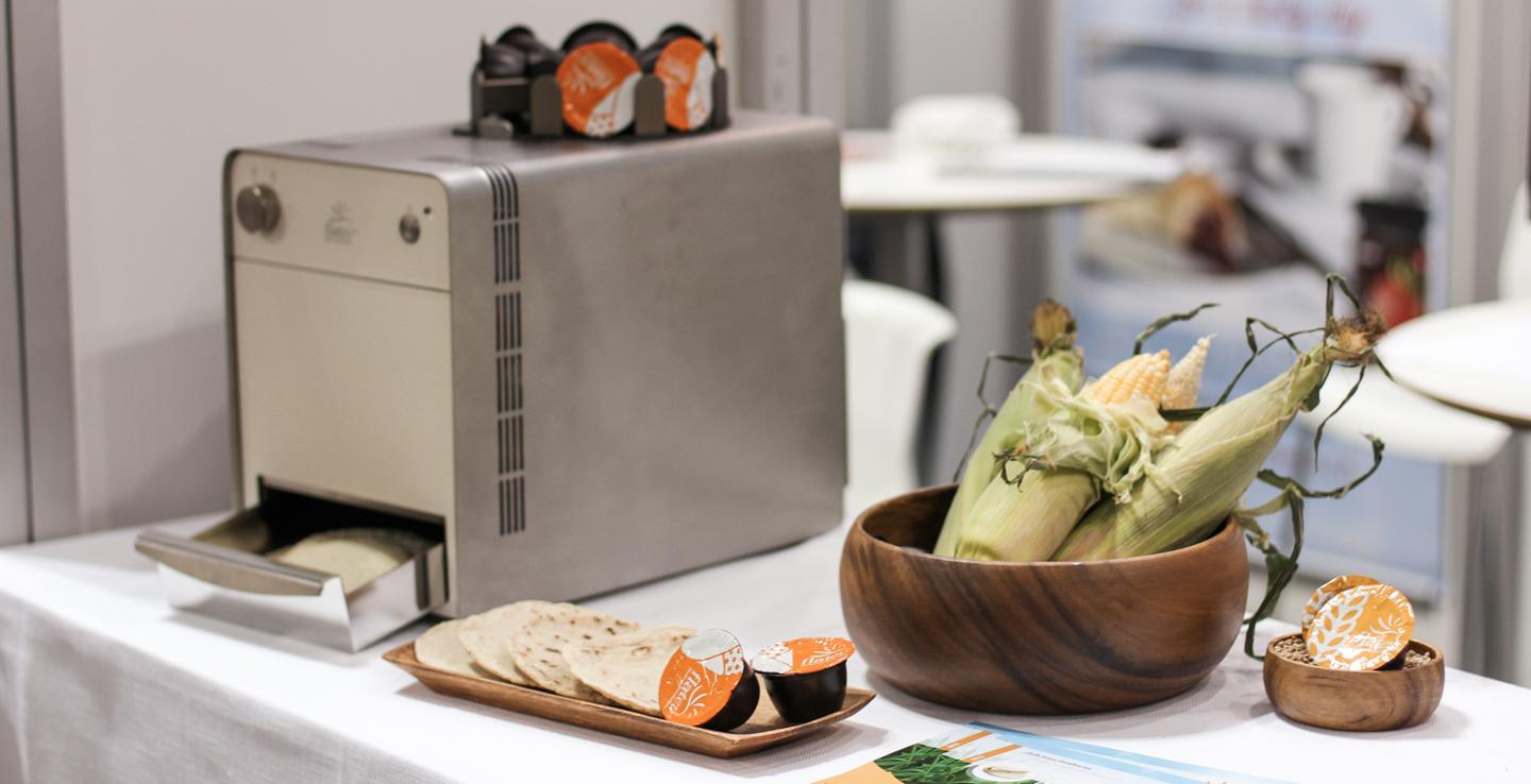 The Flatev makes fresh-baked tortillas from individual dough pods