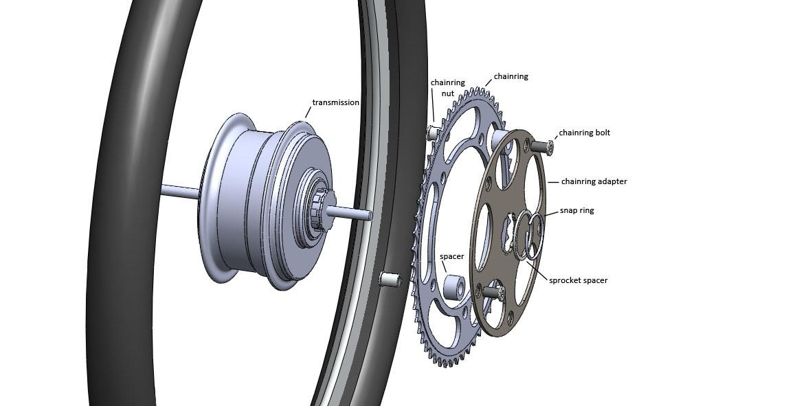 Schematic of the rear hub assembly used on Maxwell von Stein's bicycle