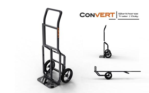 Once the cyclist reaches their destination, the Convert can be quickly unhitched and tipped up on its back end