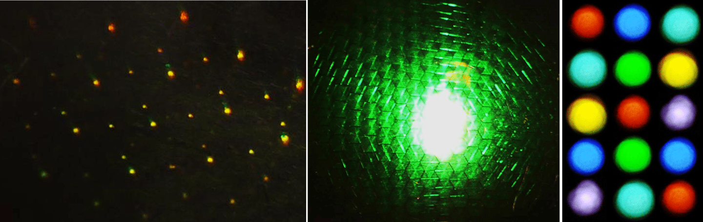 Holographic spots and a hologram illuminated from the center (Photo: Ali Yetisen)