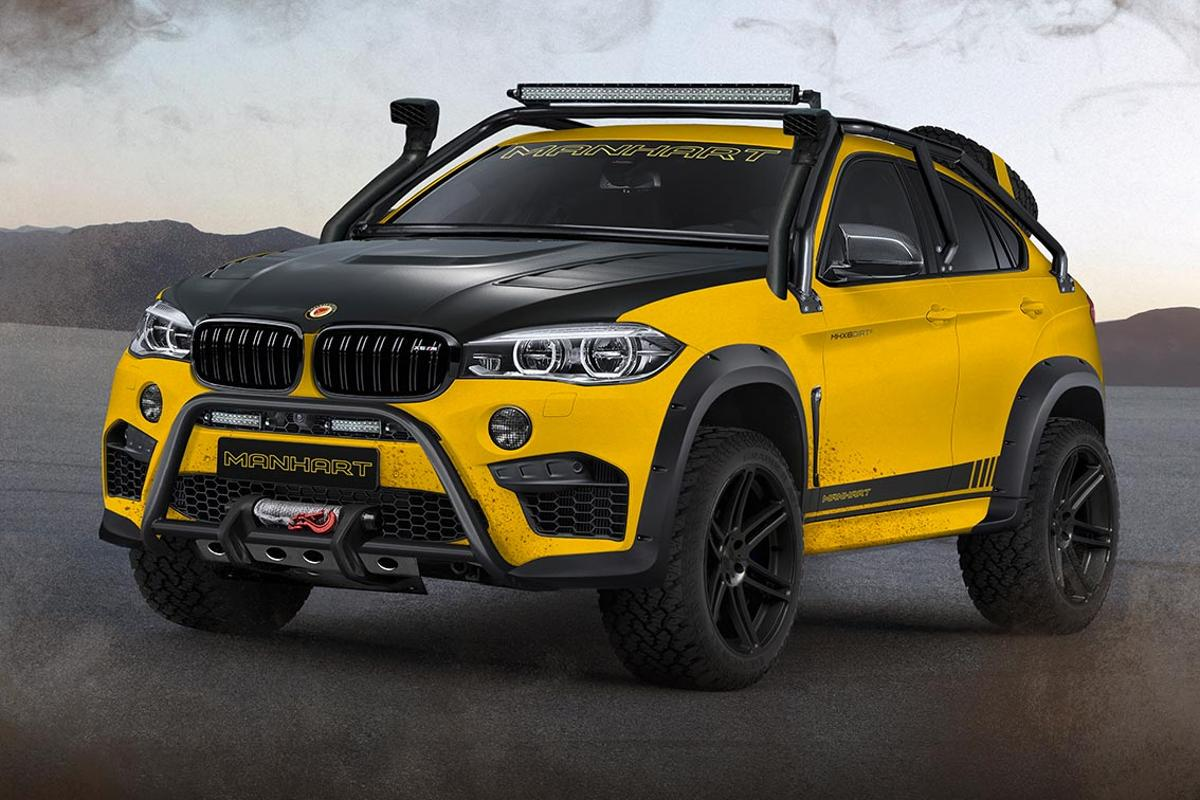 The Manhart MHX6 Dirt² Concept. Boasting a 900-hp 4.4-liter twin turbo V8 and a rally-style exterior, the MHX6 is setup for extreme off-roading