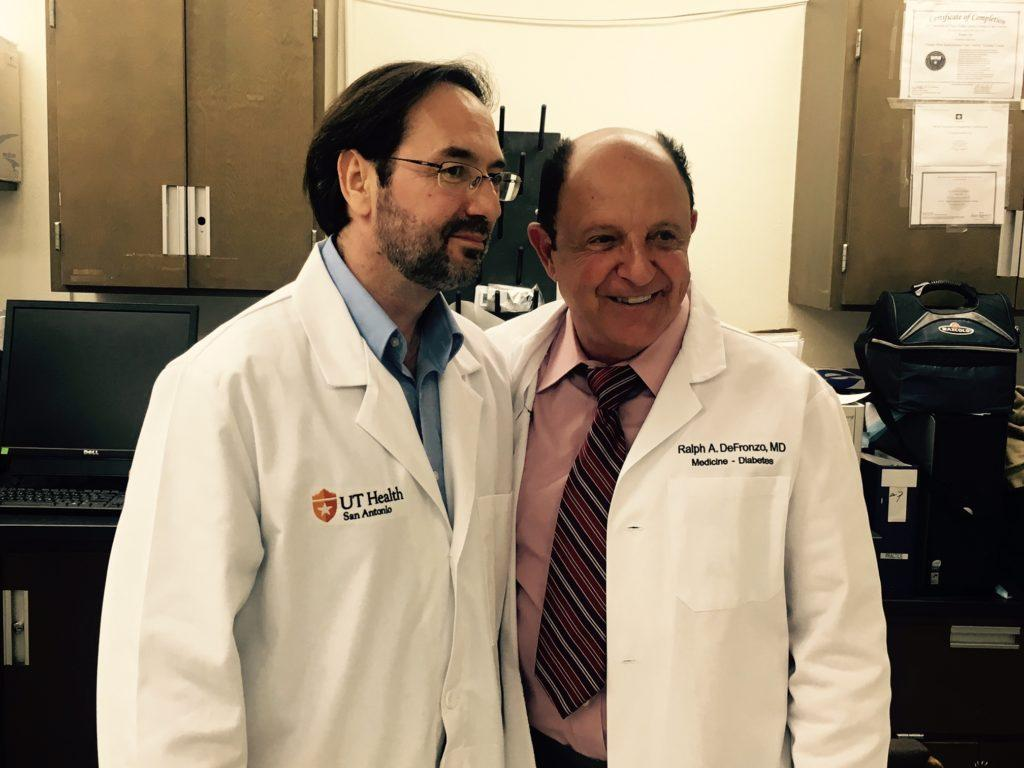Bruno Doiron  (left), and Ralph DeFronzo  co-invented a technique that has cured diabetes in mice for one year without side effects