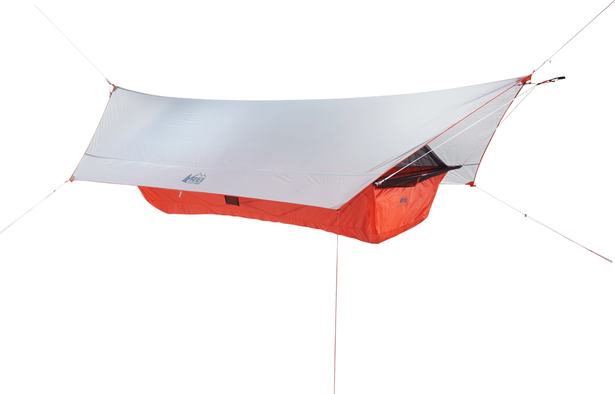 Quarter Dome Air Hammock with mesh and rainfly up