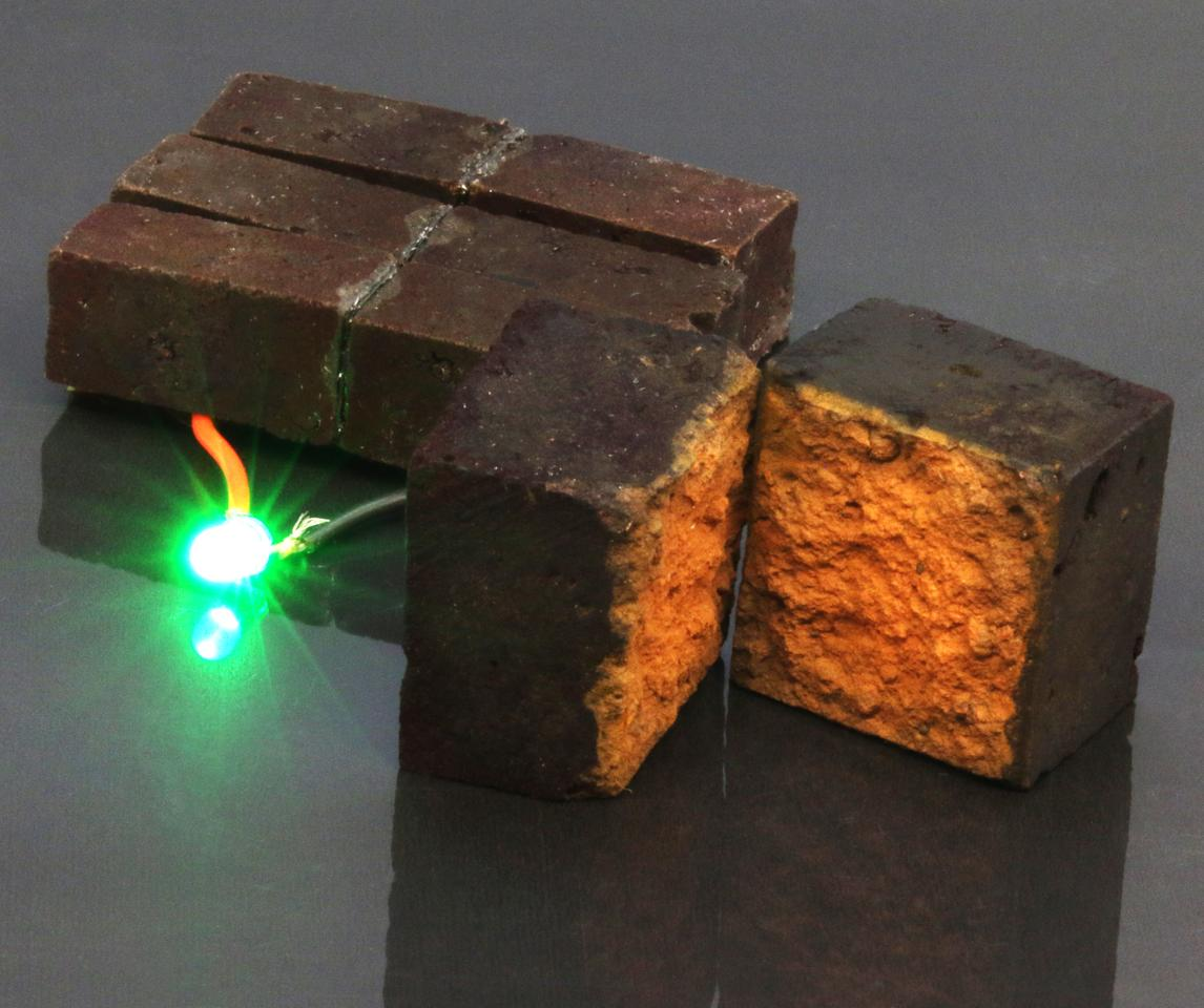 A PEDOT-coated brick powers a green LED