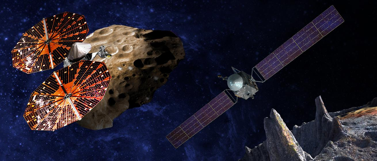 Lucy, on the left, will probe six Trojan asteroids for clues about the early Solar System formation while Psyche, on the right, will visit a rare metallic asteroid that could be the core of a long-vanished planet