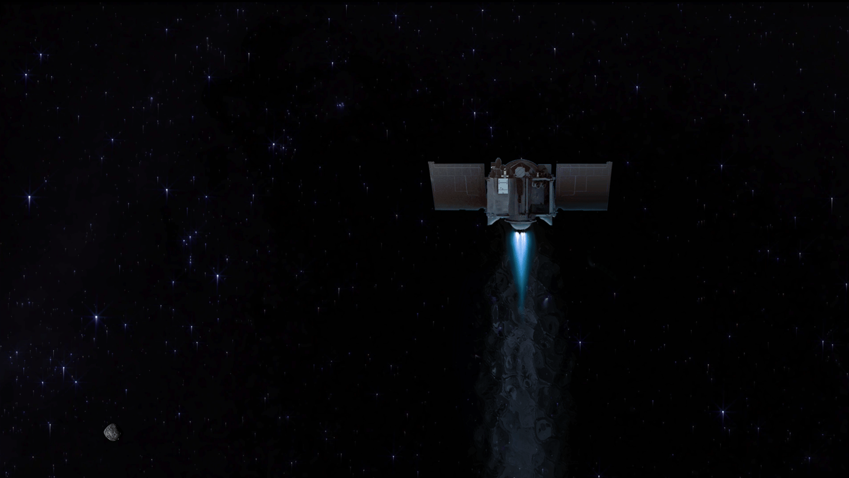 Artist's impression of OSIRIS-REx bidding farewell to asteroid Bennu