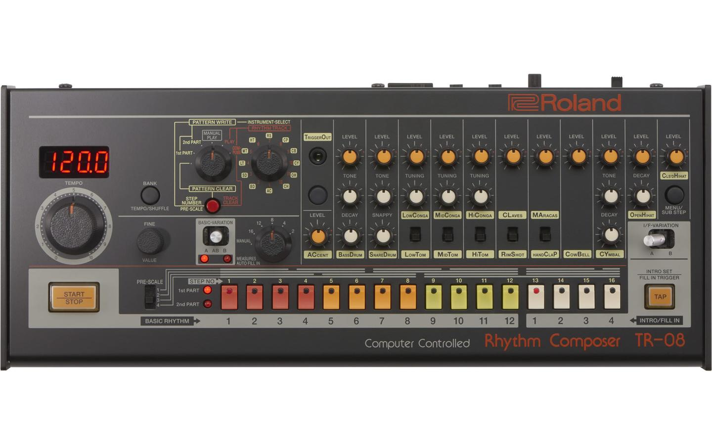 The TR-08 Rhythm Composer has a similar look, feel and sound to the TR-808 released in 1980