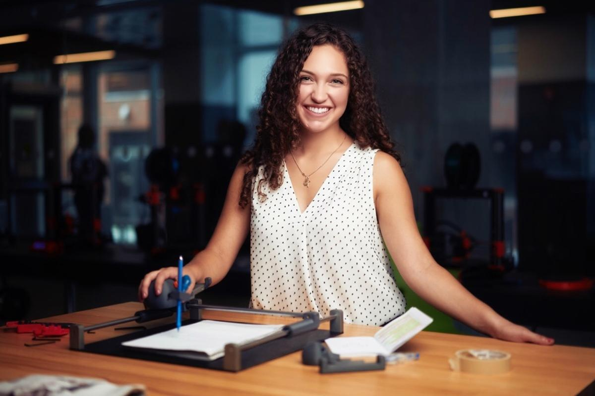Lianna Genovese, Canadian national winner of the James Dyson Award 2021, with her Guided Hands invention
