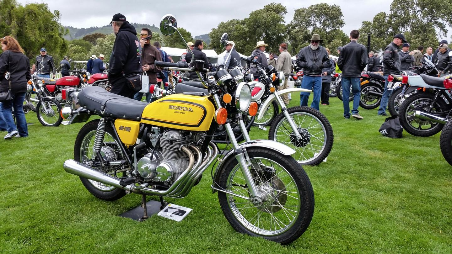 A beautifully restored Honda400 Four Supersport at the Quail Motorcycle Gathering