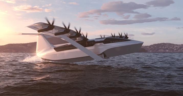 """Avant qu'il ne décolle, les hydroptères """"seaglider"""" de Regent pour plus d'efficacité et pour le sortir des vagues"""